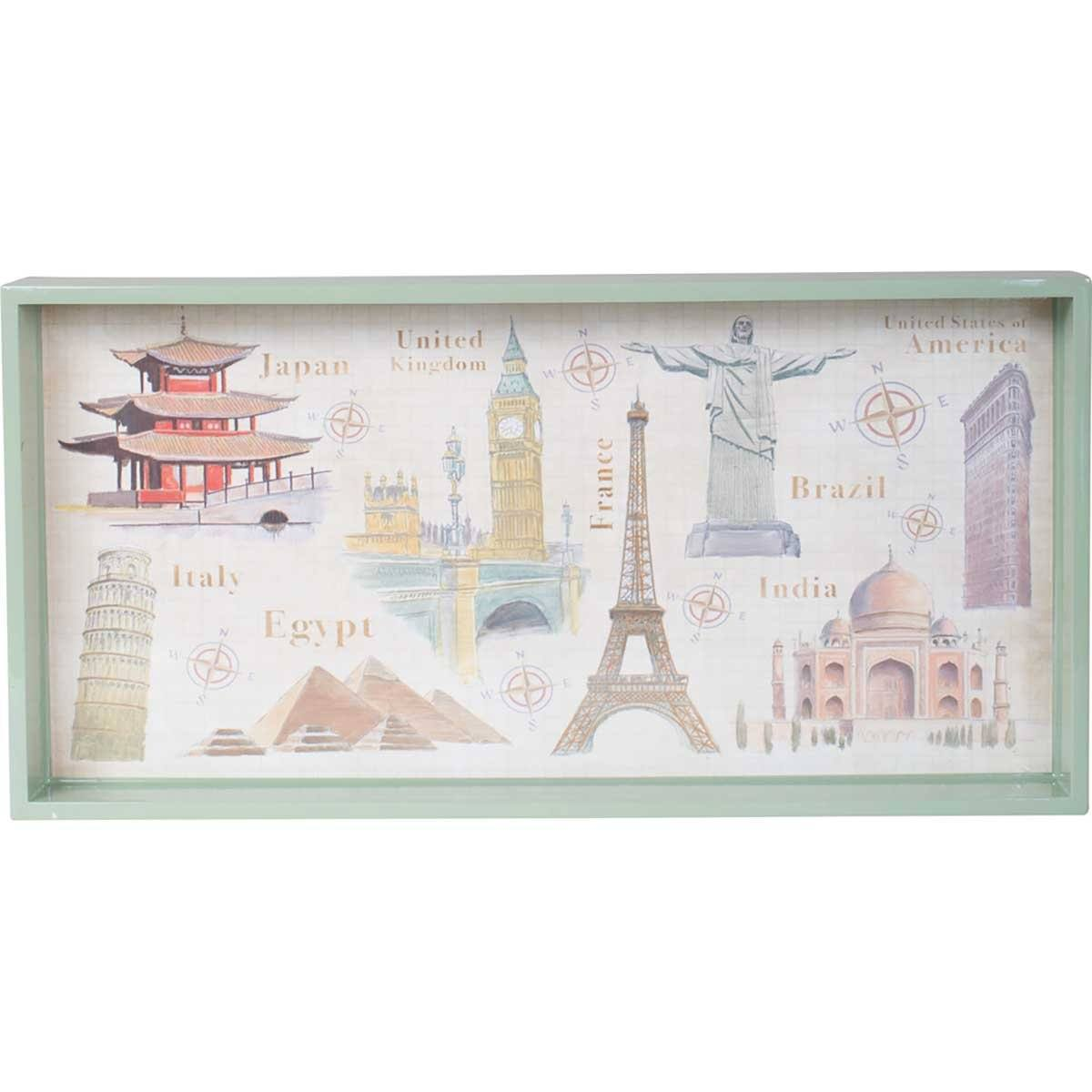 Around the World 10 x 20 inch Rectangular Lacquer Art Serving Tray