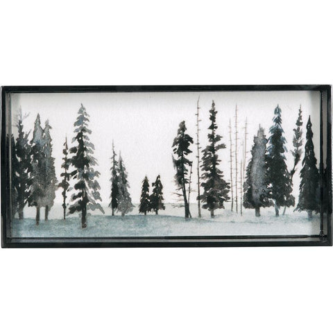 Winter Forest Neutral 10 X 20 Inch Rectangular Lacquer Art Serving Tray