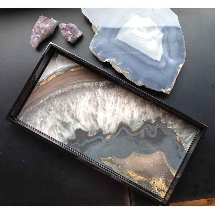 Agate Neutral 10 X 20 Inch Rectangular Lacquer Art Serving Tray - rockflowerpaper LLC