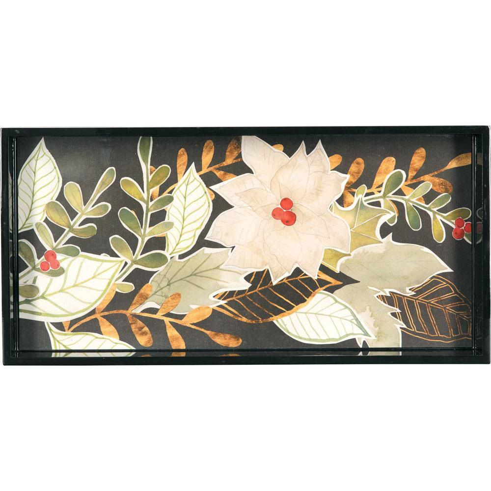 White Poinsettias 10 X 20 Inch Rectangular Lacquer Art Serving Tray