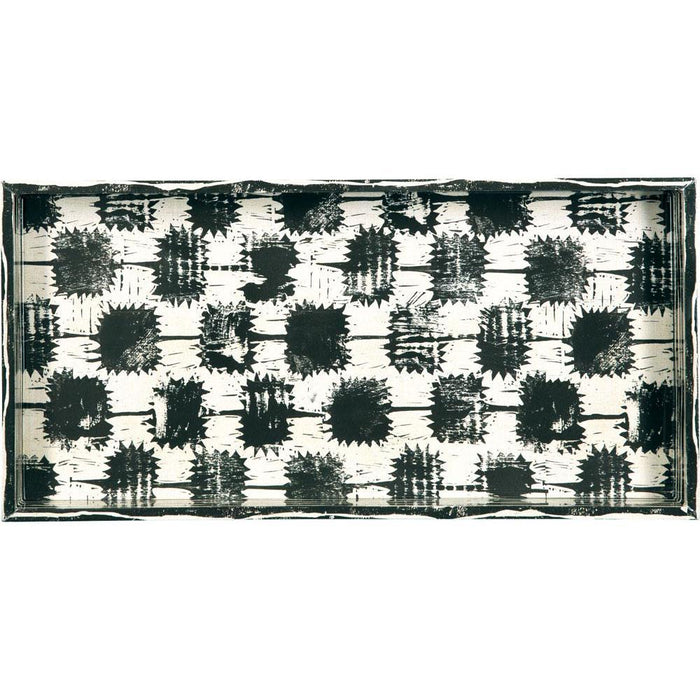 Dominique Neutral 10 X 20 Inch Rectangular Lacquer Art Serving Tray - rockflowerpaper LLC