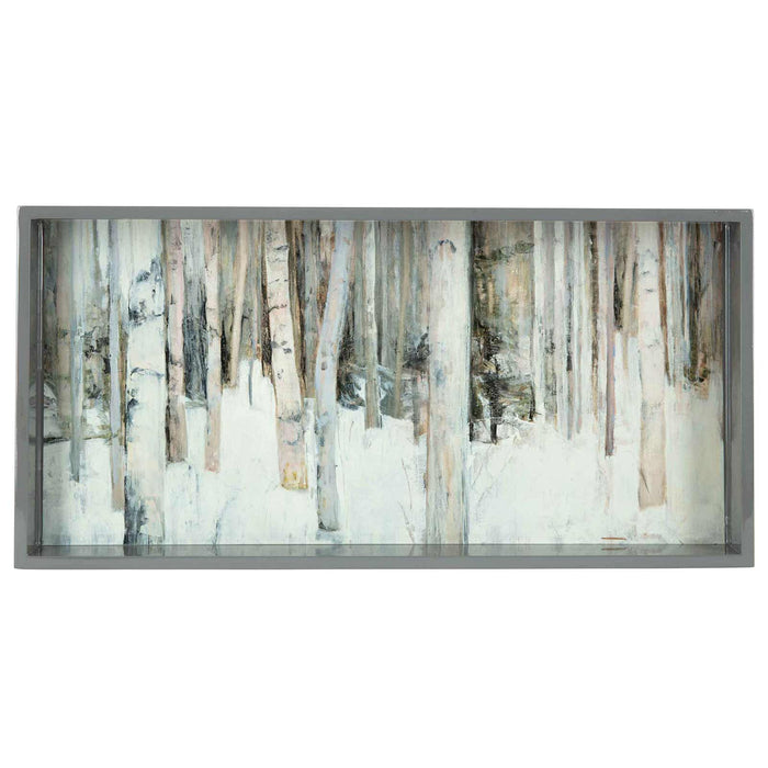 Birch Trees Neutral 10 X 20 Inch Rectangular Lacquer Art Serving Tray