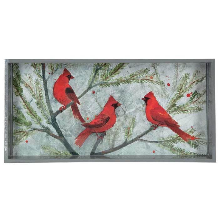 Cardinals Red 10 X 20 Inch Rectangular Lacquer Art Serving Tray