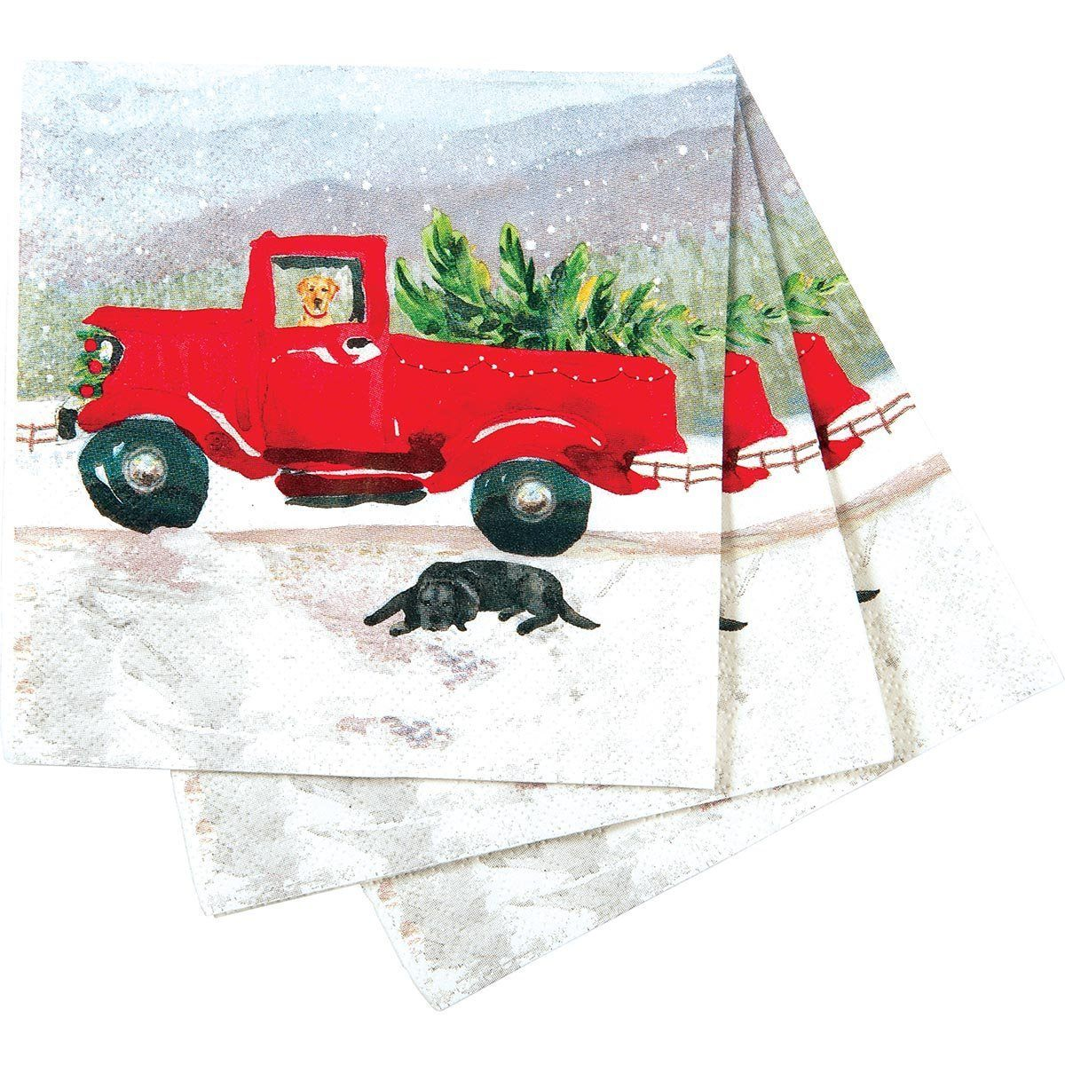 Red Truck Printed Paper Cocktail Napkin