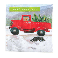 Red Truck Printed Paper Cocktail Napkin - 8/25