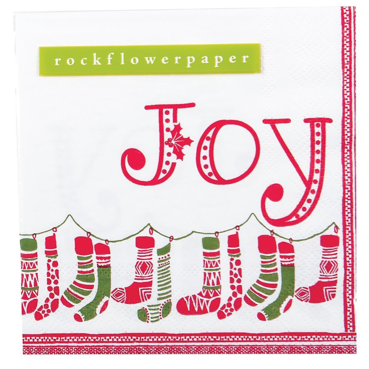 Stockings Red and Green Printed Paper Cocktail Napkin - rockflowerpaper LLC