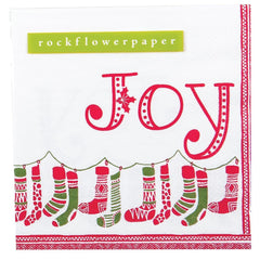 Stockings Red and Green Printed Paper Cocktail Napkin