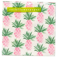 Pink Pineapple Printed Paper Cocktail Napkins
