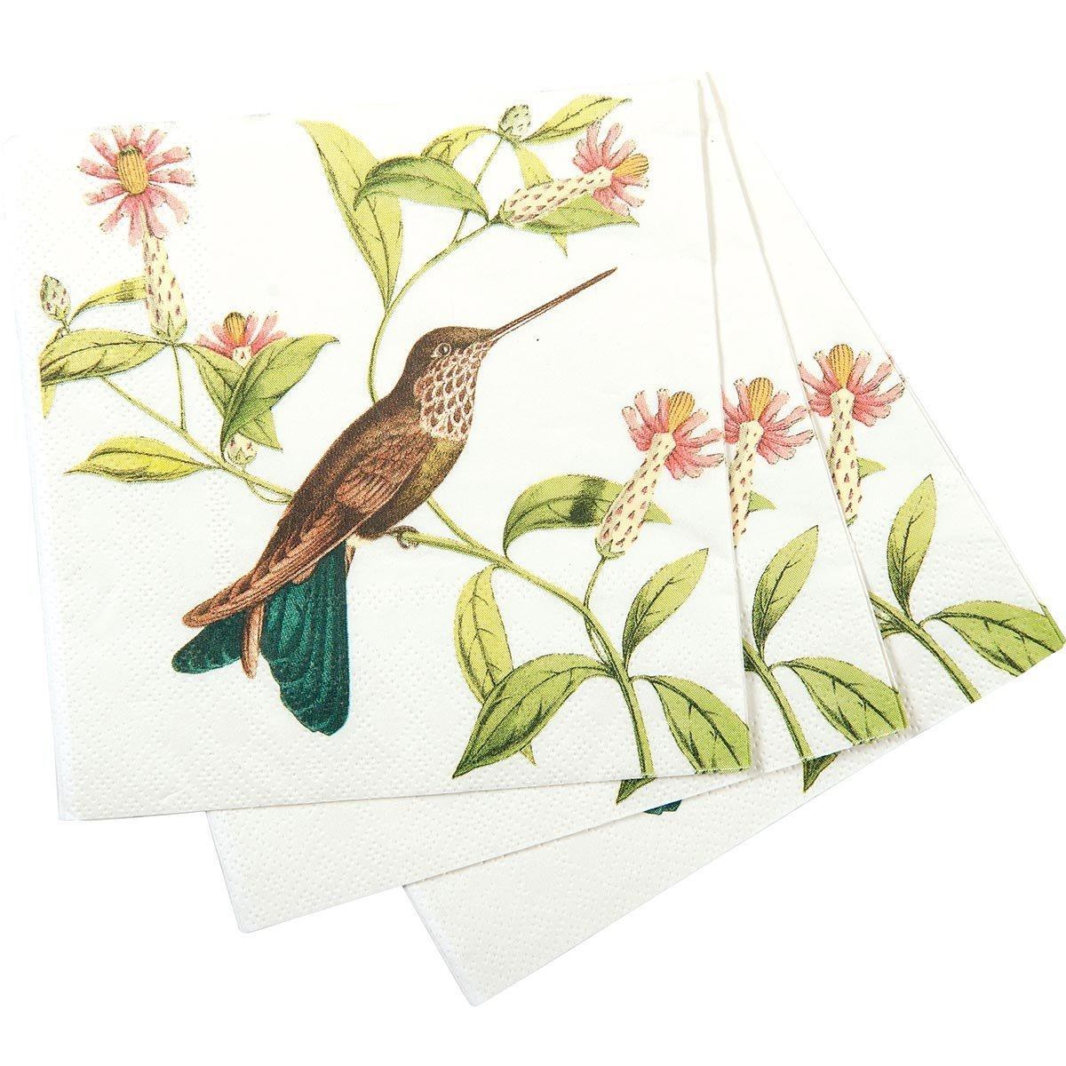 Hummingbird Floral Printed Paper Cocktail Napkin