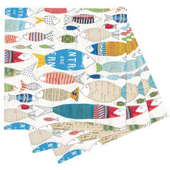 Fish Parade Printed Paper Cocktail Napkins