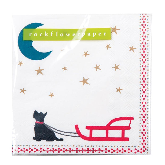 Dog Sled Printed Paper Cocktail Napkin - rockflowerpaper LLC
