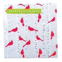 Cardinals on Birch Trees Printed Paper Cocktail Napkin - rockflowerpaper LLC