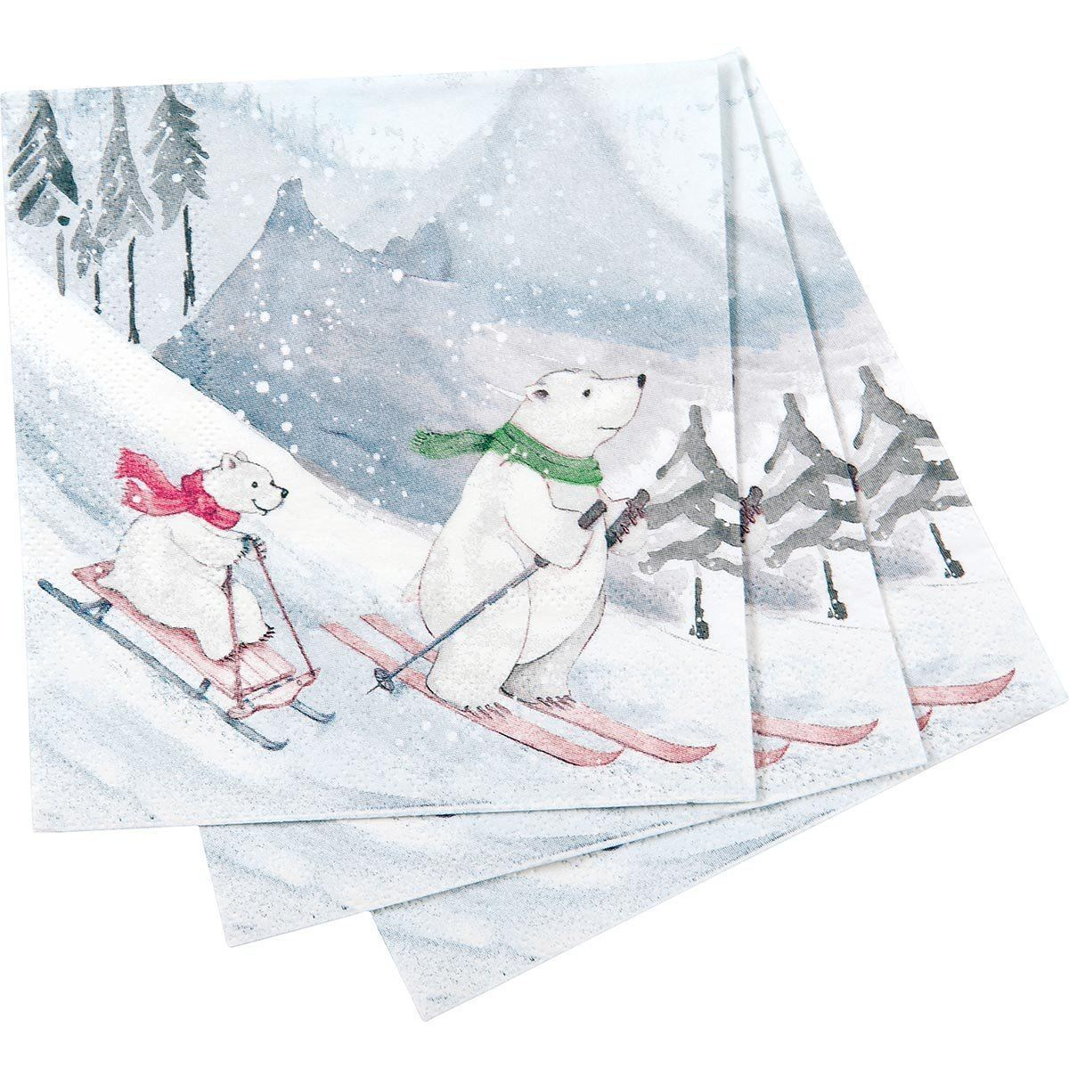 Ski Bears Printed Paper Cocktail Napkin