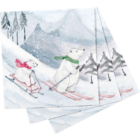 Ski Bears Printed Paper Cocktail Napkin - 8/25
