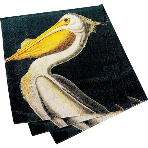 White Pelican Black/Yellow Printed Paper Cocktail Napkin - rockflowerpaper LLC