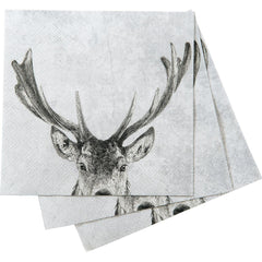 Snowy Deer Grey Printed Paper Cocktail Napkin