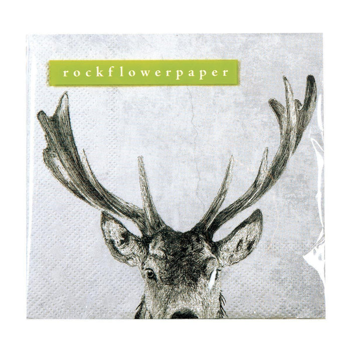 Snowy Deer Grey Printed Paper Cocktail Napkin - rockflowerpaper LLC