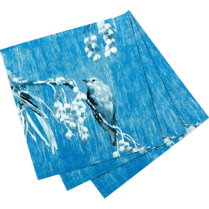Chintz Bird Blue Printed Paper Cocktail Napkin - rockflowerpaper LLC
