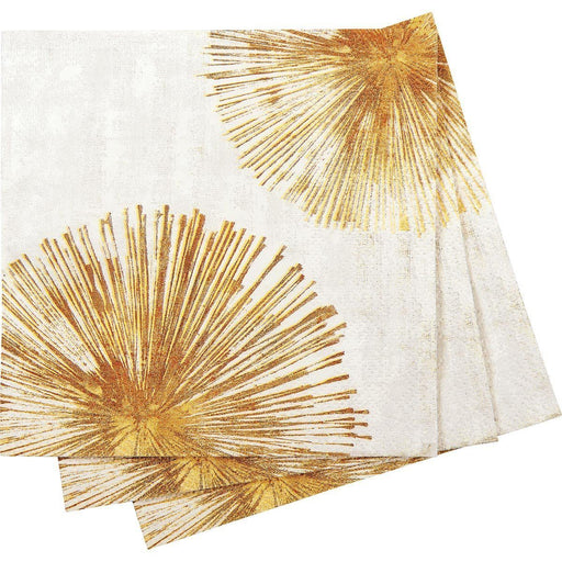 Gold Sunbursts Printed Paper Cocktail Napkin - rockflowerpaper LLC