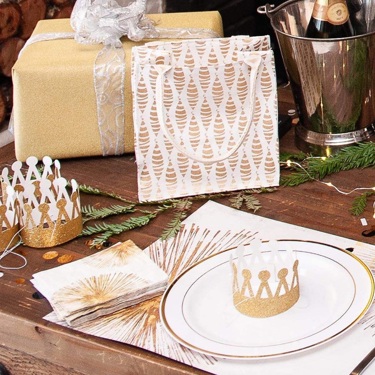 Gold Sunbursts Cocktail Napkin - rockflowerpaper LLC