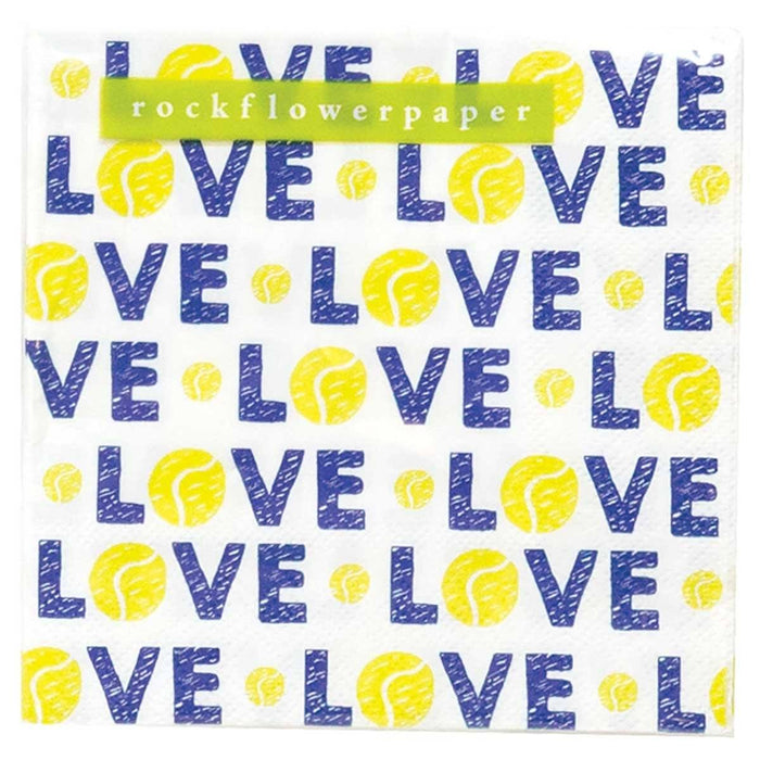 Tennis Love Printed Paper Cocktail Napkins - rockflowerpaper LLC