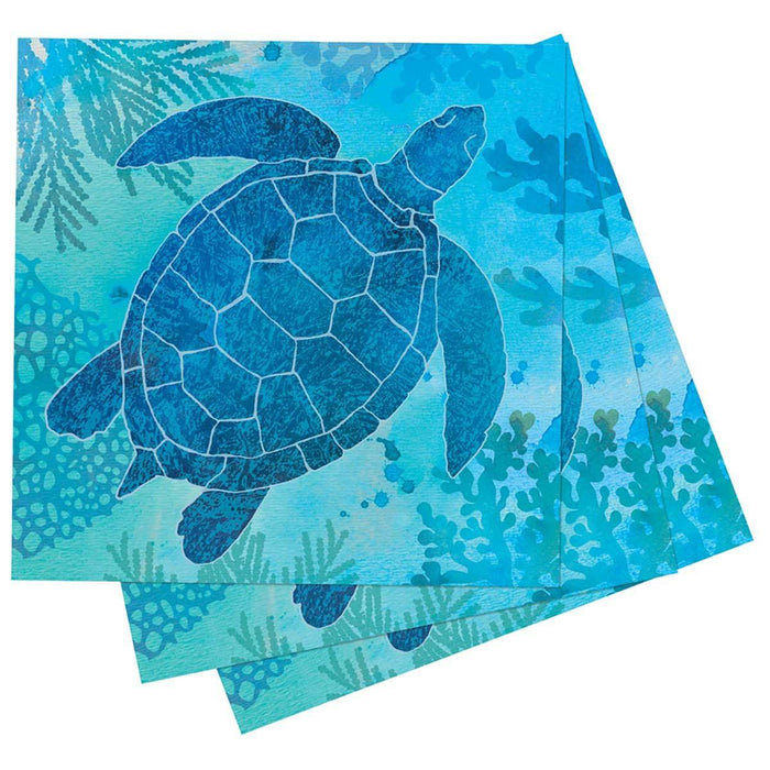 Sea Turtle Printed Paper Cocktail Napkins - rockflowerpaper LLC