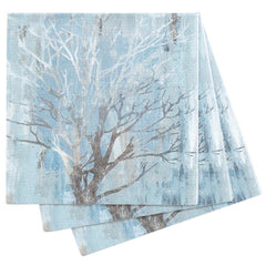 Silver Tree Blue Printed Paper Napkins