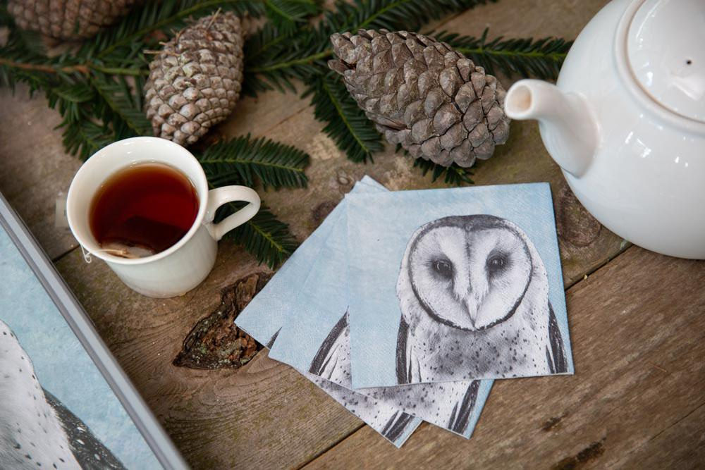 Snowy Owl Blue Printed Paper Napkins