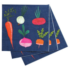 Root Veggies Blue Printed Paper Napkins