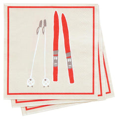 Alpine Ski Red Printed Paper Napkins