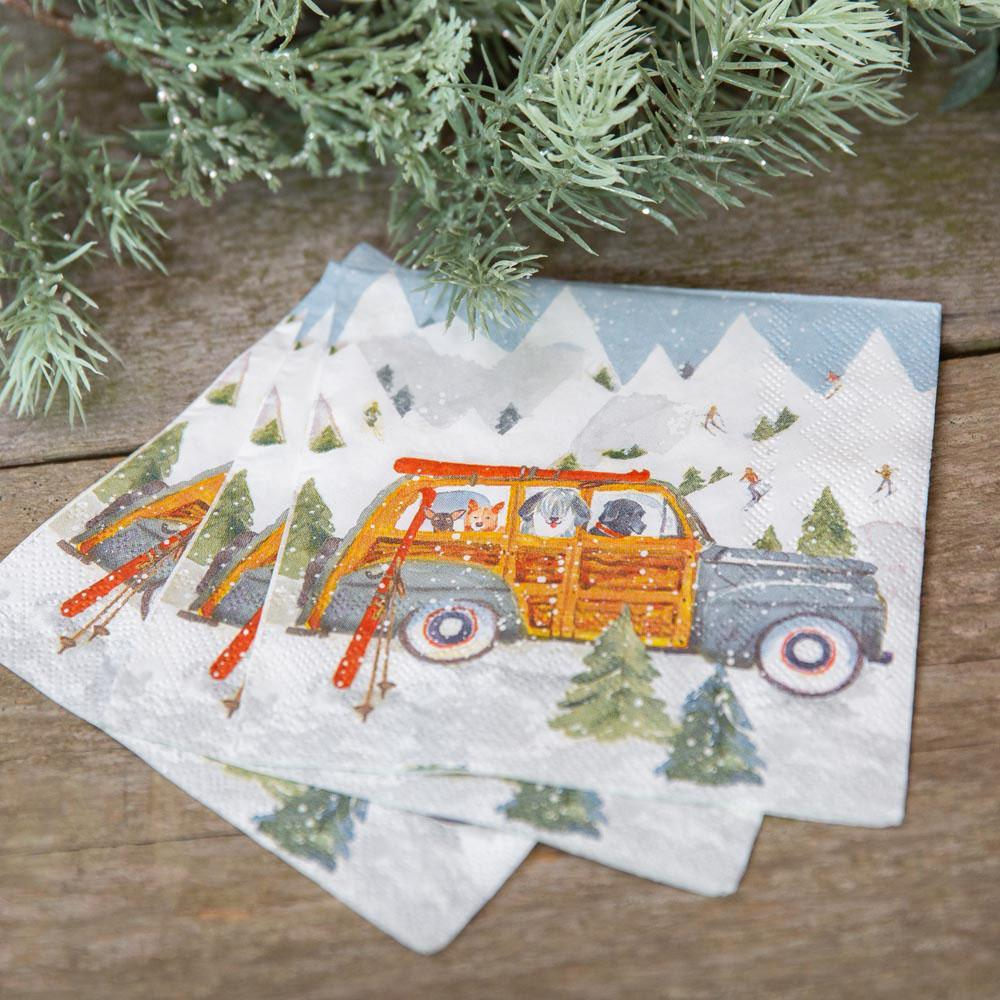 Ski Day Neutral Printed Paper Napkins