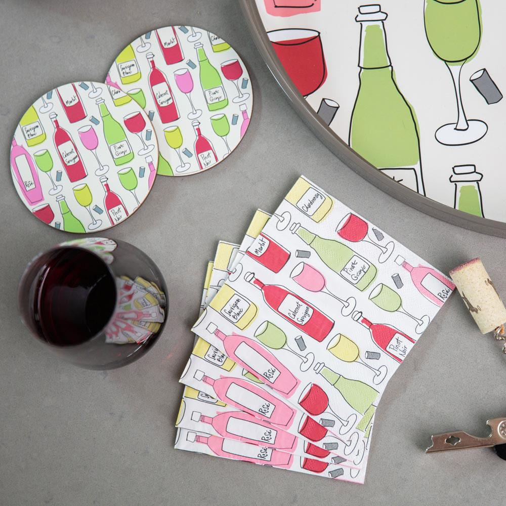 Wine Purple Printed Paper Napkins