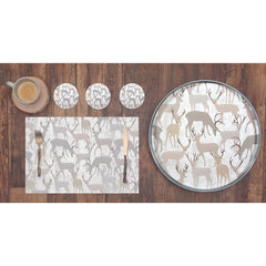 Winter Stags Grey Printed Paper Placemats (30 per Pad)
