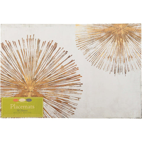Gold Sunbursts Paper Placemats Set 30 - rockflowerpaper LLC