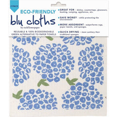 Hydrangea Eco Friendly Blu Dish Cloths - Set of Two