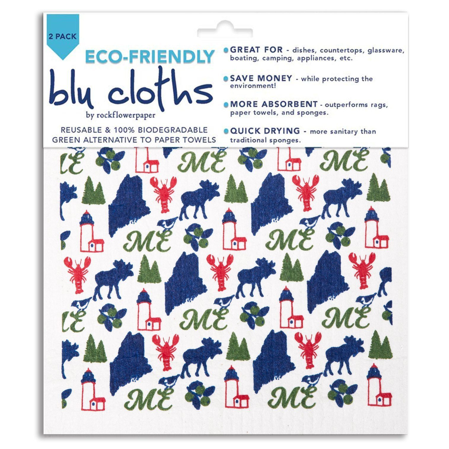 Maine Blue Eco Friendly Blu Dish Cloths - Set Of Two