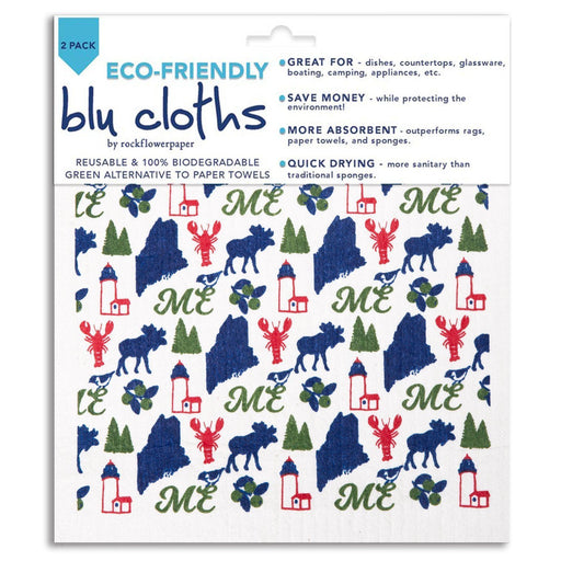 Maine Blue Eco Friendly Blu Dish Cloths - Set Of Two - rockflowerpaper LLC