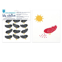 Highland Bird Black Eco Friendly Blu Dish Cloths - Set Of Two