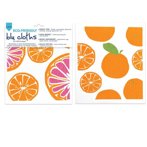 Oranges Orange Eco Friendly Blu Dish Cloths - Set Of Two - rockflowerpaper LLC