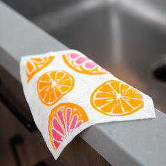 Oranges Orange Eco Friendly Blu Dish Cloths - Set Of Two