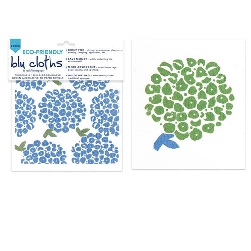 Hortensia Blue Eco Friendly Blu Dish Cloths - Set Of Two - rockflowerpaper LLC