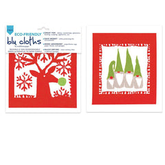 Scandi Holiday Red Eco Friendly Blu Dish Cloths - Set Of Two