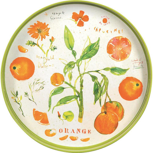 Oranges Orange 15 Inch Round Lacquer Serving Tray - rockflowerpaper LLC
