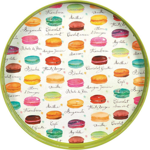 Macarons Green 15 Inch Round Lacquer Serving Tray - rockflowerpaper LLC