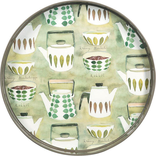 Teapots Green 15 Inch Round Lacquer Serving Tray - rockflowerpaper LLC