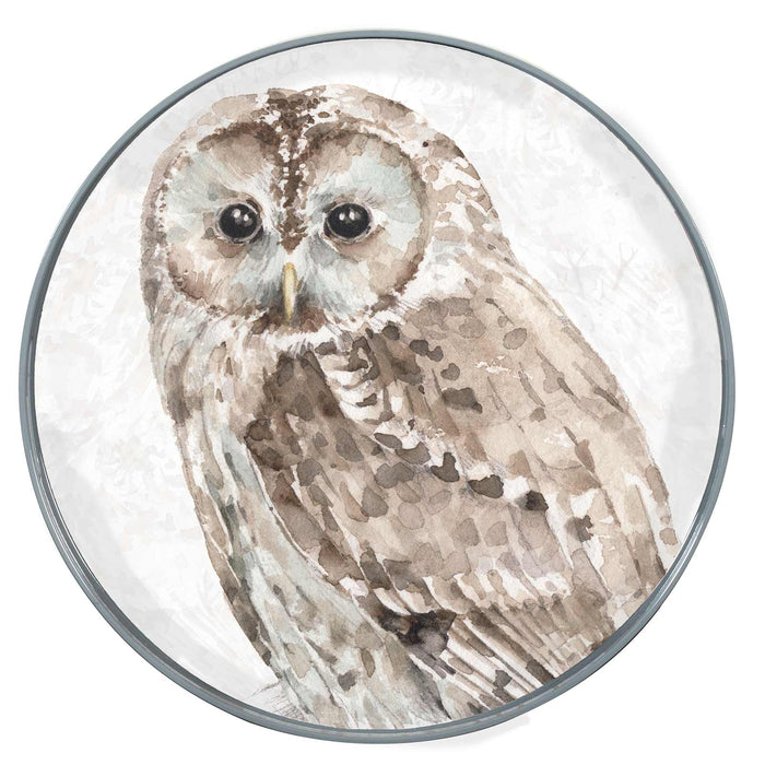 Barred Owl Neutral 15 Inch Round Lacquer Serving Tray