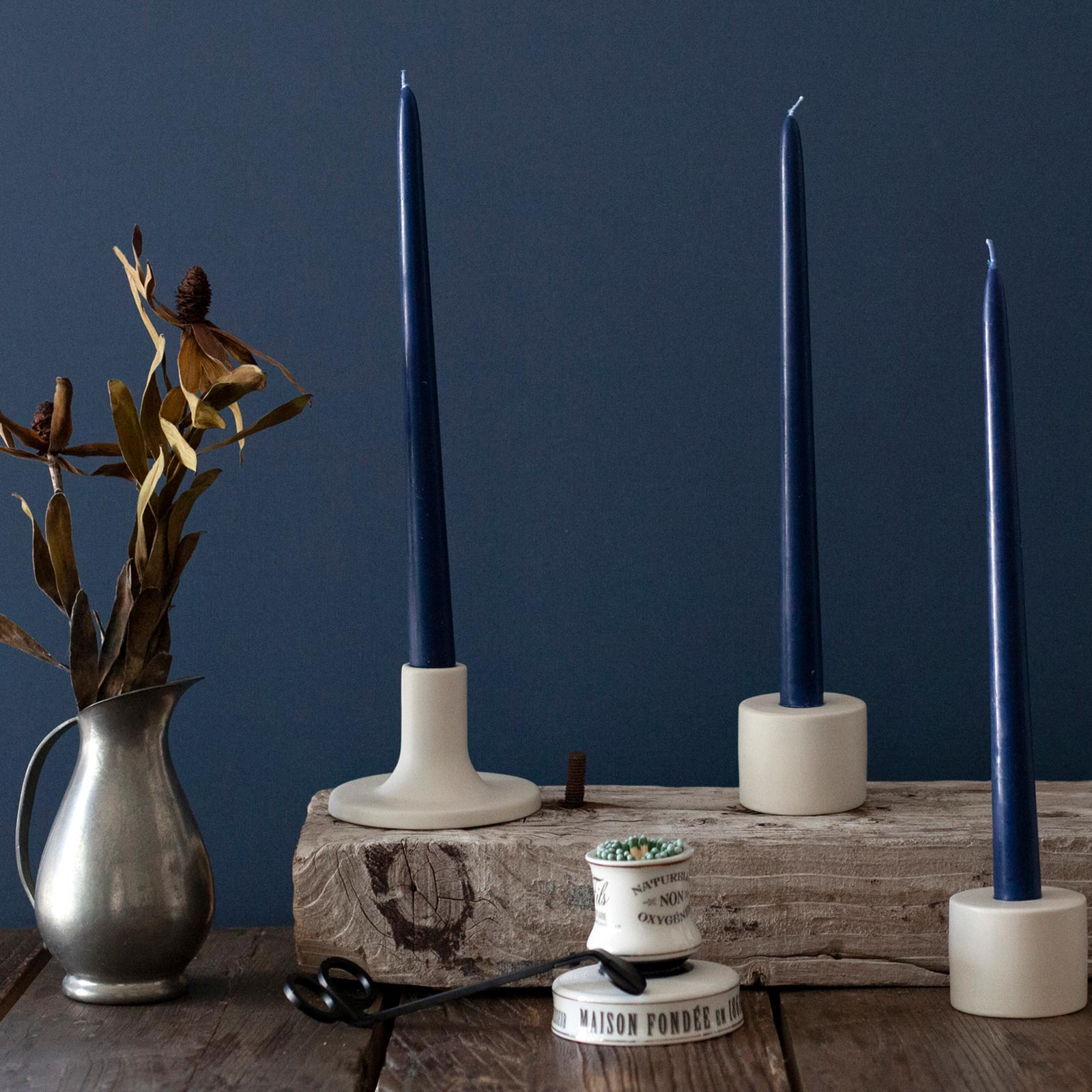 Navy Beeswax 12 inch Taper Candles (one pair)