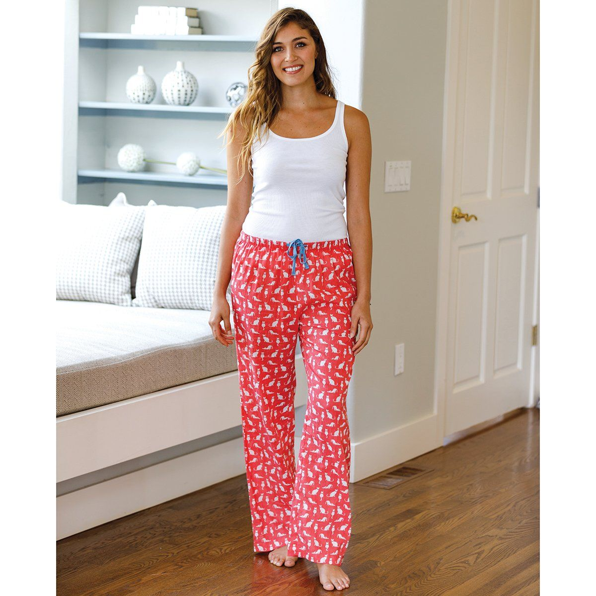 Cats Pink Cotton Lounge Pants - rockflowerpaper LLC