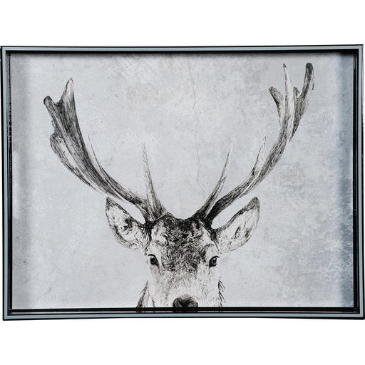 Snowy Deer 15 x 20 inch Rectangular Lacquer Art Serving Tray - rockflowerpaper LLC