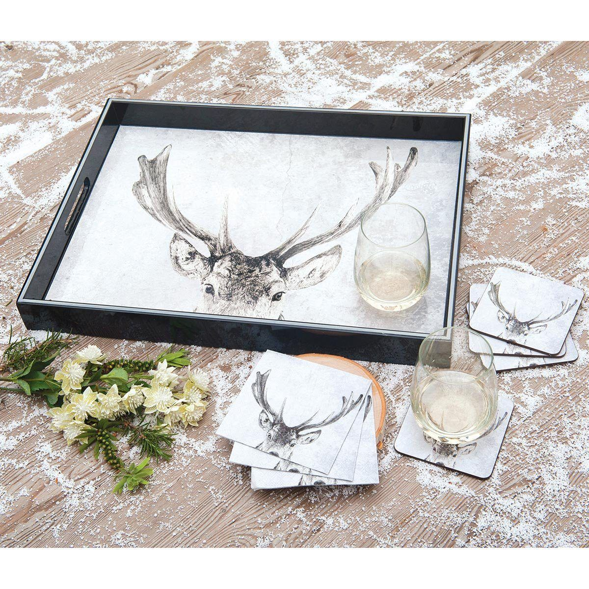 Snowy Deer 15 x 20 inch Rectangular Lacquer Art Serving Tray